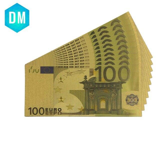 100 Euro colorido billete de oro 24 k 999,9 chapado en oro falso dinero vacaciones recuerdo regalos arte ornamento vale la colección