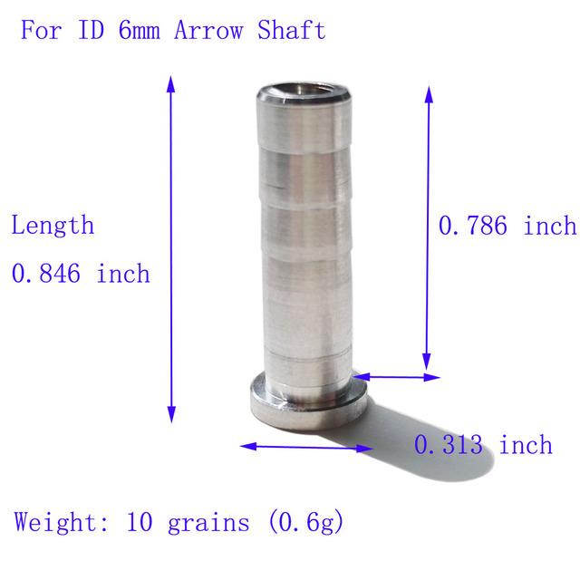 60 Pcs Archery Aluminum Alloy Stripe Arrow Insert Silver For ID 6mm 6.2mm Arrow Shaft Aluminum Arrow Connection