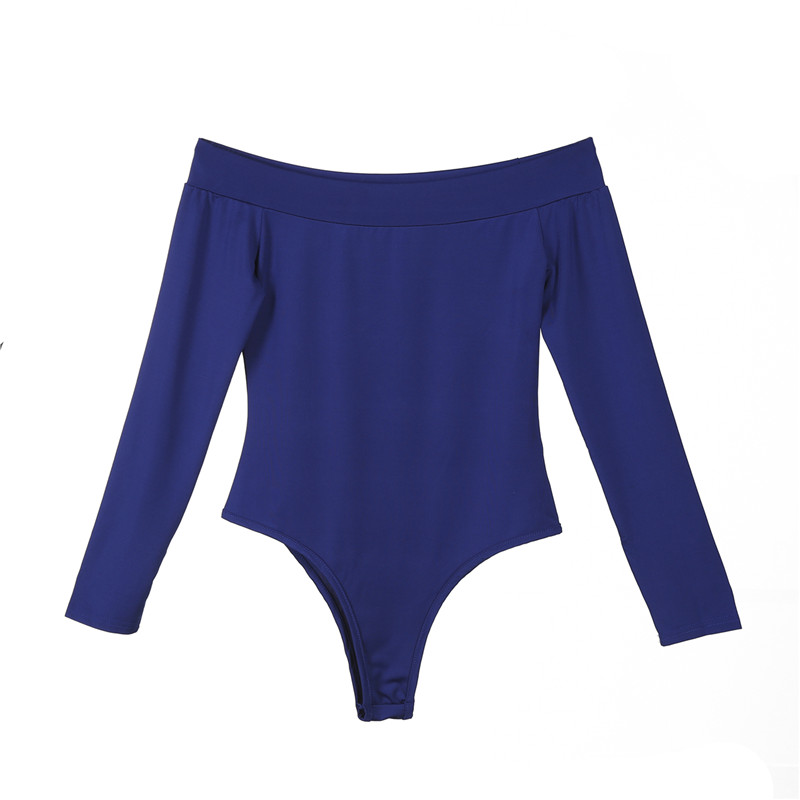 New autumn Women ladies long sleeve Bodycon Bodysuits Off Shoulder solid slim sexy bodysuits short overalls