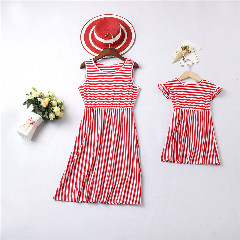 Family Matching Outfits mother daughter dresses Ankle Length Maxi dress mommy and me clothes Stripe Bohemian Summer Style E0185 in Matching Family Outfits from Mother Kids