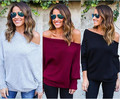 Autumn Off The Shoulder Top For Women Casual T Shirt Woman Brand Black Grey Tee Shirt Femme Long Sleeve Slash Neck Knitted Tops