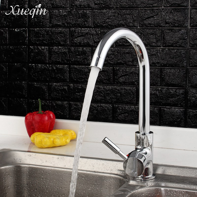 Xueqin Rotatable Swivel Spout Kitchen Sink Basin Water Faucet Mixer Tap Bathroom Hot Cold Single Handle