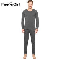Feelingirl Men's Thermal Underwear Sets Winter Warm For Men Ultra Soft Solid Pajamas Men's Thick Thermal Underwear Long Johns