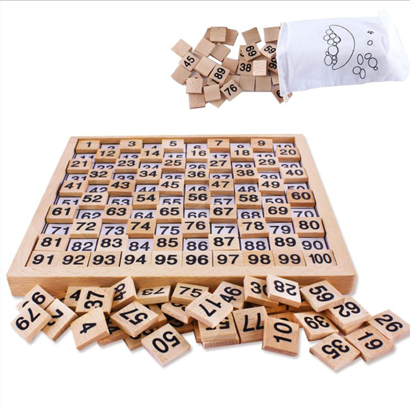 Wooden Toys Hundred Board Montessori 1-100 Consecutive Numbers Wooden Educational Game For Kids