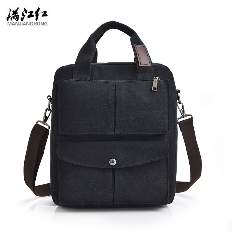 купить Manjianghong Canvas Bag Classic Design Business Casual Man Handbag Black Coffee Khaki 3 Colors Shoulder Bag Strong Quality 1366 недорого