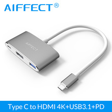 "AIFFECT 4K HD Type C USB3.1 to HDMI 3 in 1 Hub USB-C PD Charging port Aluminum Adapter for New Macbook 12"" and Dell XPS 12/13(China)"