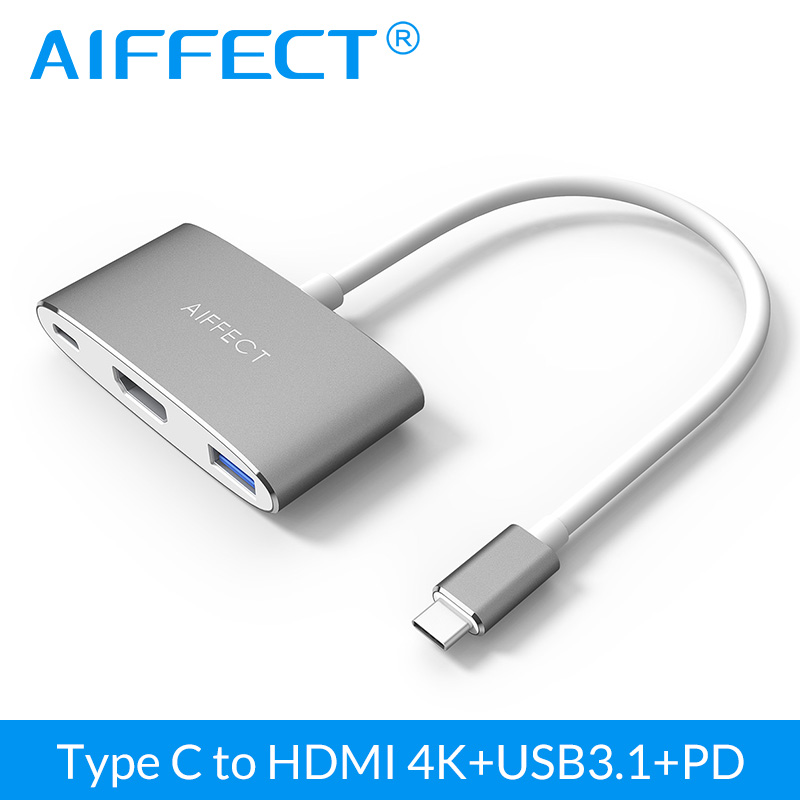 AIFFECT 4K HD Type C USB3.1 to HDMI 3 in 1 Hub USB C PD Charging port Aluminum Adapter for New Macbook 12 and Dell XPS 12/13