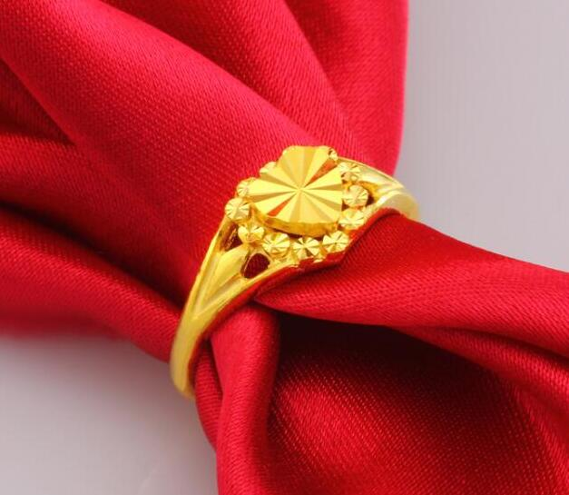Чистое 24К желтое золото изменяемое кольцо новое дизайнерское кольцо в форме сердца 3,5g Горячая Распродажа - 2
