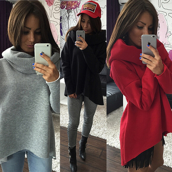 Women Christmas Clothes Winter Autumn Hoodies Scarf Collar Long Sleeve Fashion Casual Sweatshirts Rough Pullovers S -Xl