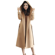 Hooded Double sided Cashmere Plus size Long Winter Wool Coat Women 2018 New Female Woolen Jacket Top quality Overcoat casaco 575 top quality decent style long sleeve hooded woolen coat for men