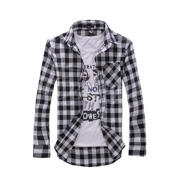 Mens Stylish Slim Fit Casual Plaid Check Shirt