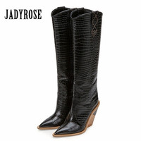 Jady Rose Genuine Leather Women Knee High Boots Pointed Toe Western Cowboy Boots 9CM Chunky High Heel Botas Mujer Wedge Boot