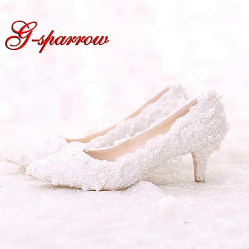 White Sweet Lace Bride Shoes Middle Heel Wedding Party Dancing Shoes Pointed Toe Formal Dress Shoes Woman Pumps Plus size 40-42