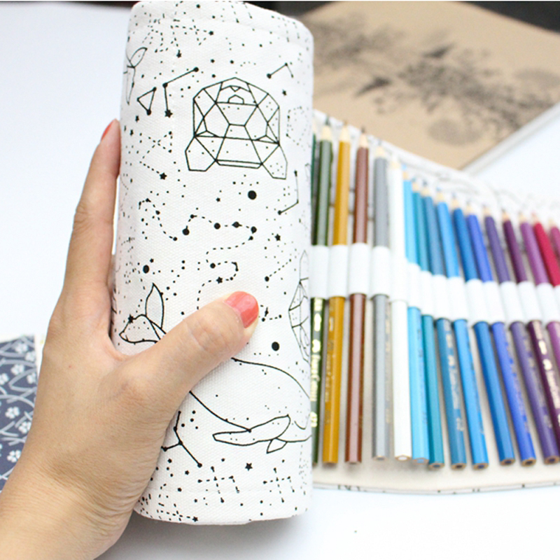 Dream Constellation 36 48 72 Holes Large Capacity Pencil Case School Canvas Roll Pouch Penicls Box Sketch Brush Pens Bag ToolsDream Constellation 36 48 72 Holes Large Capacity Pencil Case School Canvas Roll Pouch Penicls Box Sketch Brush Pens Bag Tools