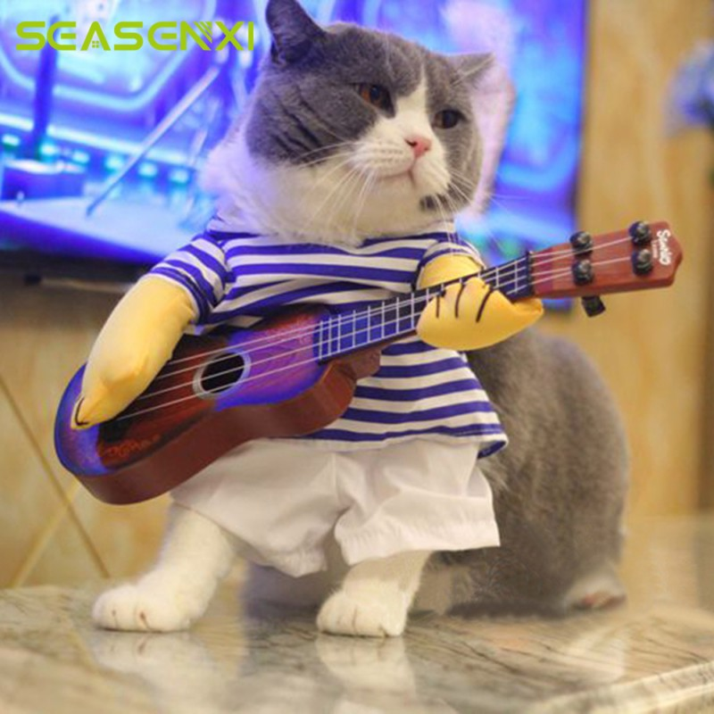 Funny pets change Cute guitar Suits For Dogs Cats M L XL 3 Size Cool Halloween Costume Pet Clothes Cat Coats Jackets Pet Gifts