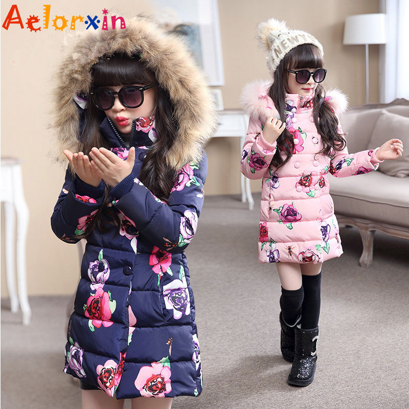 Fur Hooded Winter Jackets for Girls Thicken Cotton Padded Coats Floral Print Children Outerwear 4 6 8 10 11 12 Years Girls Parka brand new 2015 men fur hooded cotton padded coats fashion winter women thicken jackets couples overcoats outerwear h4395