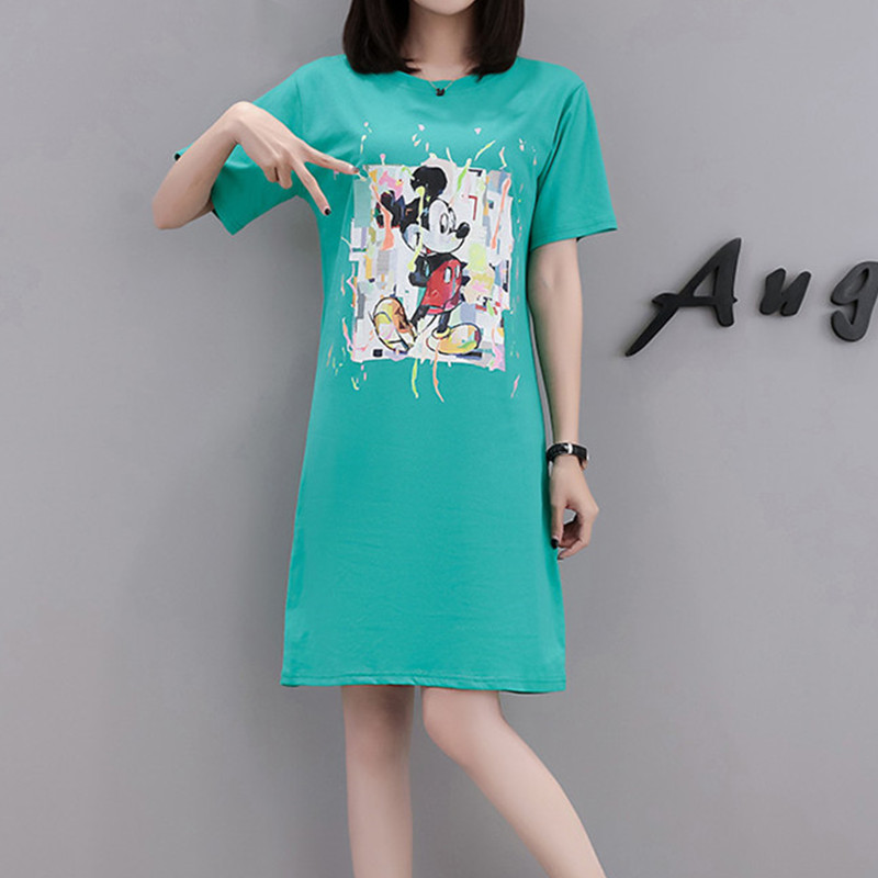Careful 2019 Summer Women Mickey Dress Casual Short Straight Women Cartoon Black Dresses Cute Mouse Tshirt Mini Dress Dr1004 Women's Clothing