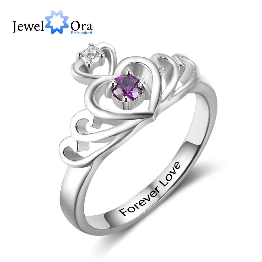 Heart Pattern Crown Engrave Name Birthstone Ring 925 Sterling Silver Anniversary Personalise Rings For Women (JewelOra RI102883) chic crown pattern heart bracelet for women