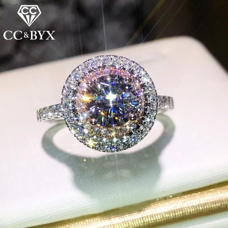 CC Винтаж S925 Серебряные кольца для Для женщин элегантный кольцо розовый круглый камень свадебные Обручение Jewelry anillos Интимные аксессуары cc593