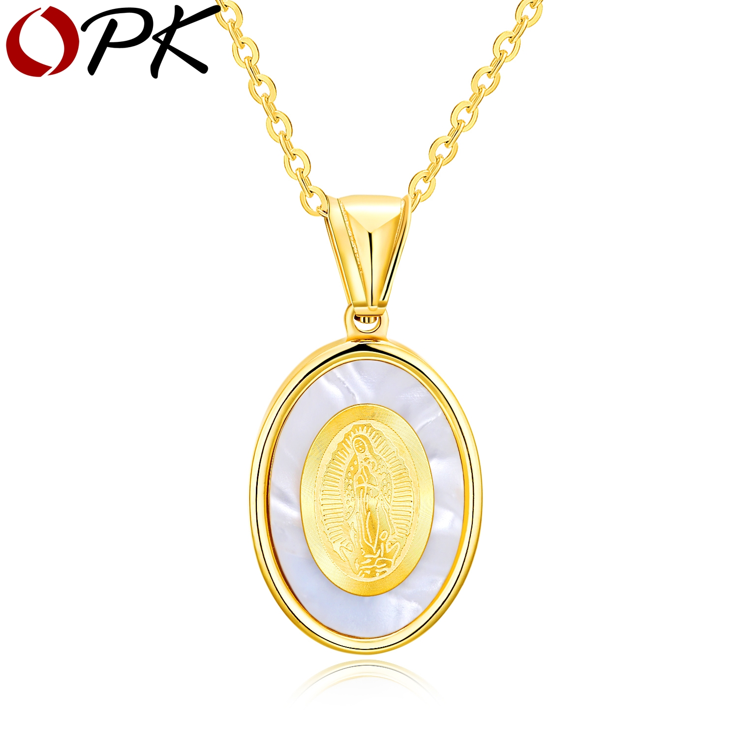 Necklace for Men Mens Golden Virgin Mary Medallion Pendant Necklace in Stainless Steel Religious Male Jewelry for Men Gift for Him
