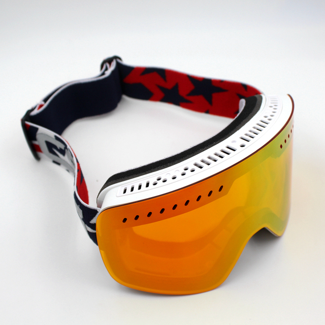 00bc665219a Orange Lens White Frame Ski Goggles Double Lens UV400 Anti-Fog Big Ski Mask  Glasses Skiing Men Women Snow Snowboard Goggles