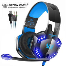 Kotion EACH Gaming Headset Best Casque Deep Bass Stereo Headphones with Mic LED Light for PS4 Xbox One  PC Gamer askmeer a66 gaming headset ps4 best pc stereo headphones casque with mic rgb led light for xbox one notebook laptop gamer