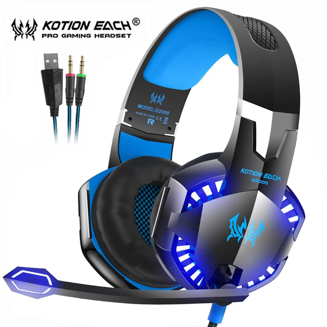 Kotion EACH Gaming Headset Best Casque Deep Bass Stereo Headphones with Mic LED Light for PS4 Xbox One  PC Gamer
