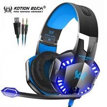 Kotion her oyun kulaklığı En Iyi Casque Derin Bas Stereo mikrofonlu kulaklıklar led ışık için PS4 Xbox One PC Oyun