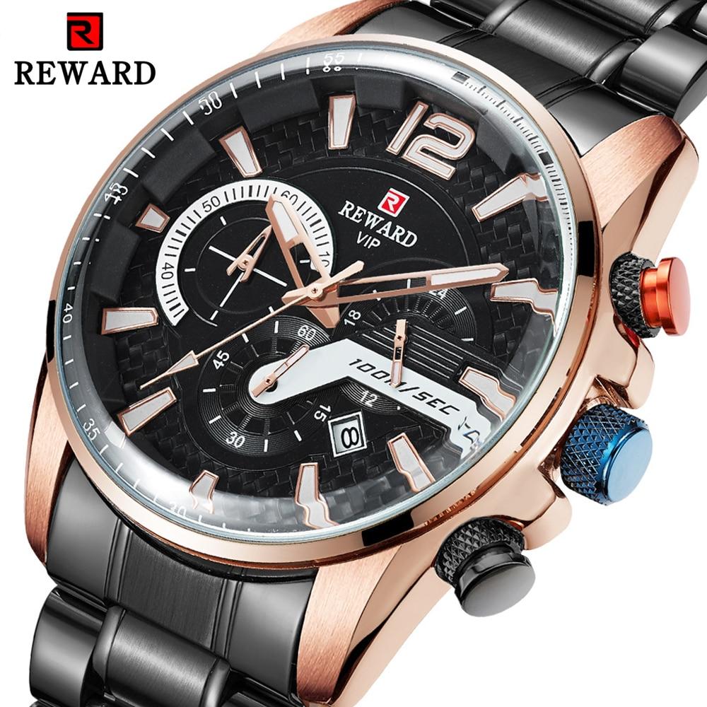 REWARD Mens Watch Waterproof Steel Quartz Business Watches Men Top Brand Luxury Sport Watch Male Wristwatch Relogio Masculino