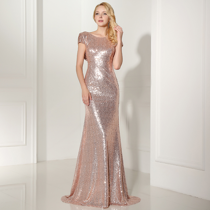 6e10e7ced12 Plus Size Rose Gold Shining Sequin Bridesmaid Dresses Sexy Backless Long  Wedding Party Gowns Simple Maid of Honor Dress OS347