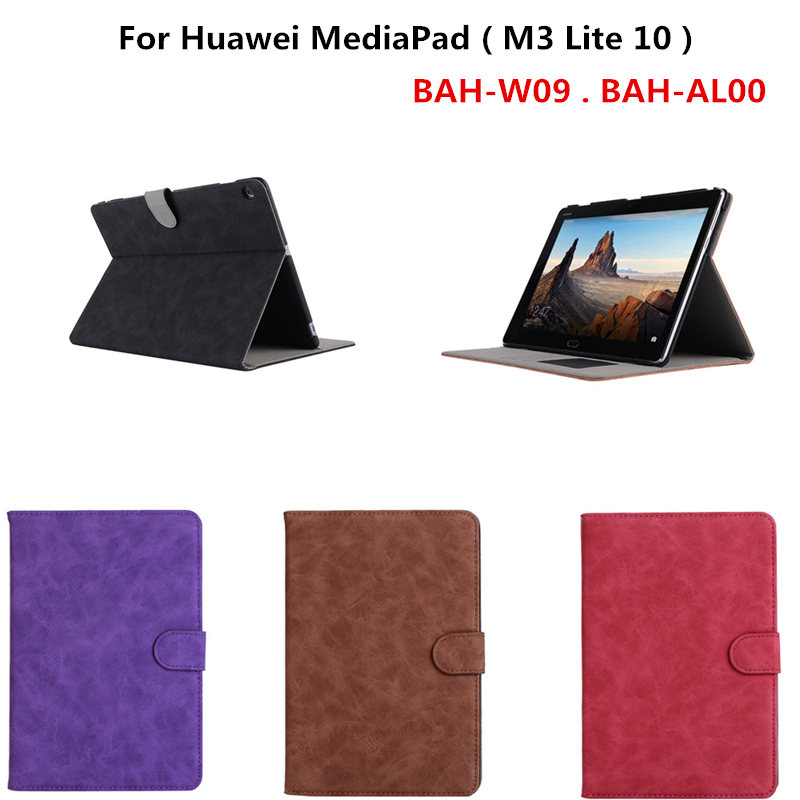 PU Leather Case for Huawei MediaPad M3 Lite 10.0 10.1 inch Flip Wallet Satnd Cover for M3 Lite 10 BAH-W09 BAH-AL00 Tablet patchwork with magnetic pu leather cover protective flip case for huawei mediapad m3 lite 8 cpn w09 cpn al00 8 0 inch tablet