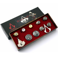 Animation Assassins Creed Necklace Set Black Flag Rings Necklace Boxed