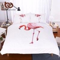 BeddingOutlet Pink Flamingo White Duvet Cover Set Simple Adorable Bird Bedding Comforter Set Cute Cartoon Duvet