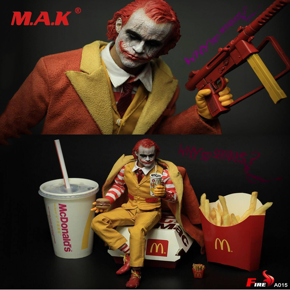 for collection 1:6scale full set action figure uncle hamburg batman Joker Burger Junk food clown with double head sculpt clothes цена и фото