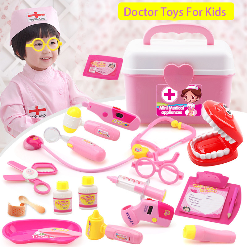 18pcs/lot Doctor Toys Pretend Play Doctors Nurse Toy Role Play Classic Kids Toys For Children Baby Simulation Hospital Suitcase