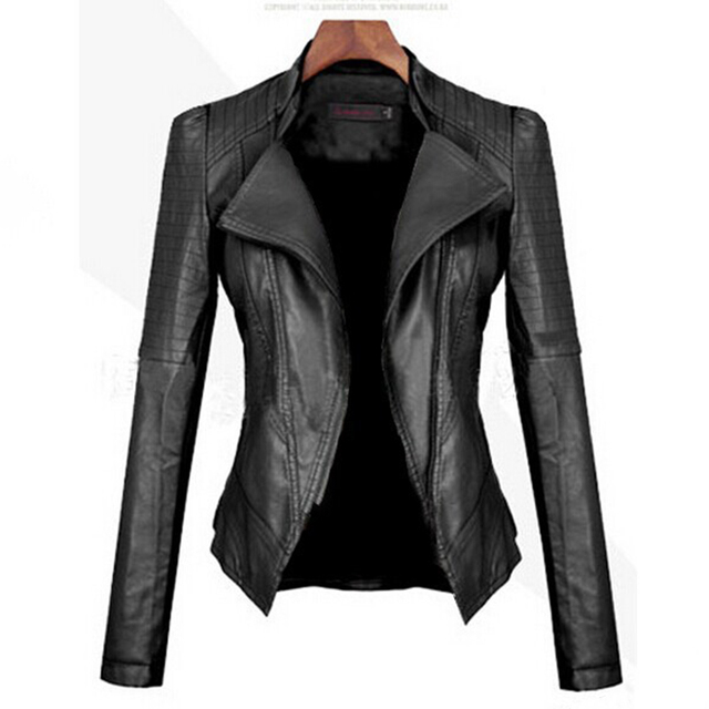 Gothic faux leather coats Women Winter Autumn Fashion Motorcycle Jacket Black punk Outerwear faux leather PU Jacket 2018 Coat