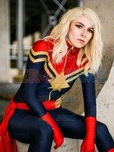 Captain Marvel Superhero Cosplay Costume Spandex Zentai Bodysuit  Ms Halloween for woman Lycra Jumpsuit Hot Sale