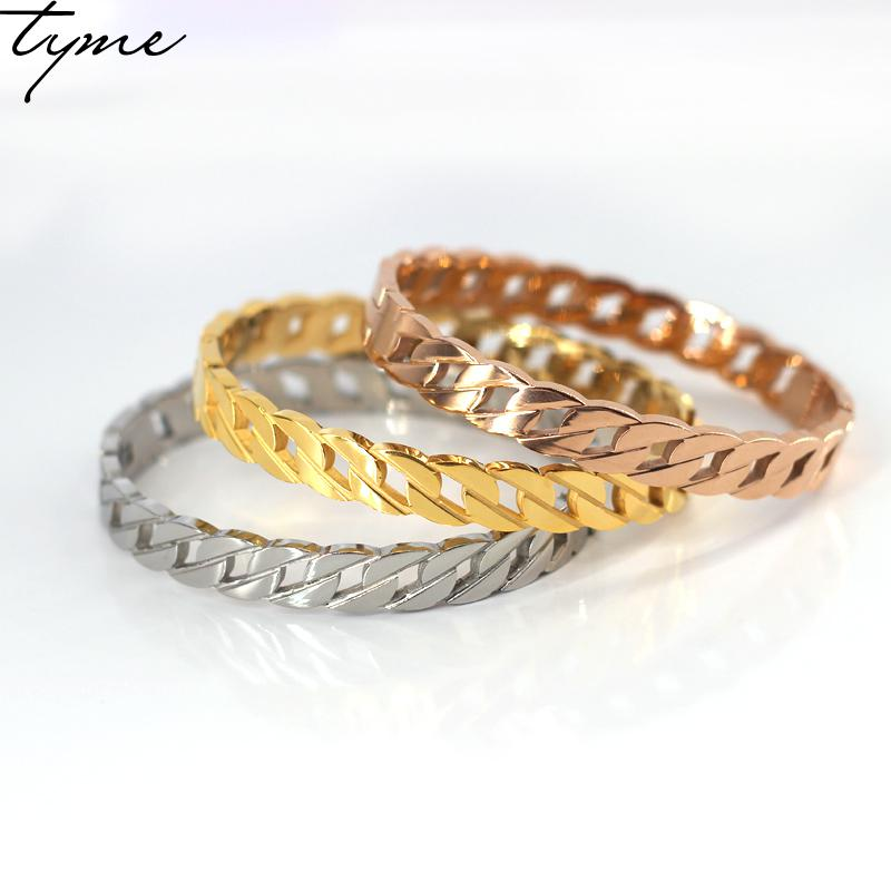 Fashion TYME Gorgeous Cut Rope Shape With gold-color Luxury Brand Love chain Bracelets Bangles High Quality Women's Jewelry