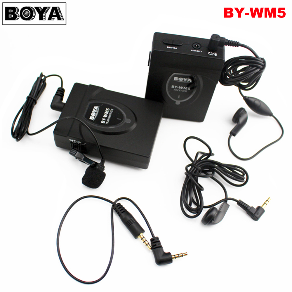 BOYA BY-WM5 Wireless Lavalier Lapel Microphone System for Canon Nikon Sony DSLR Camera Camcorders boya by wm5 dslr camera wireless lavalier microphone recorder system for canon 6d 600d 5d2 5d3 nikon d800 sony dv camcorder