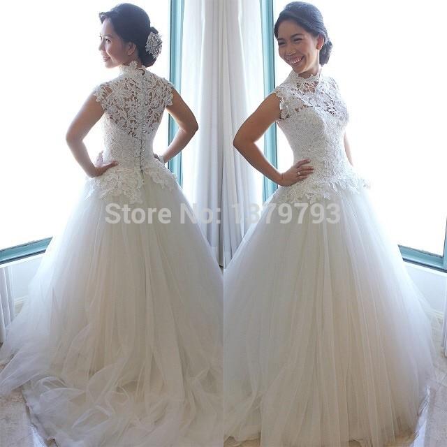 1a43bc7b9a6e3 New Arrival Designer Said Mhamad Princess Style High Neck White Lace Short  Sleeve Tulle Bride Wedding Dress Vestido de noiva