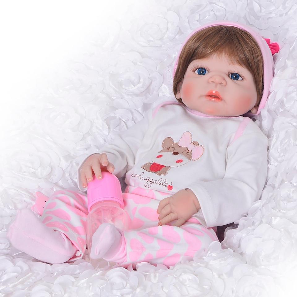 """KEIUMI 도매 Reborn 소녀 인형 23 """"57 cm 소녀 정말 현실적인 아기 인형 장난감 전체 실리콘 바디 방수 아이 Playmates-에서인형부터 완구 & 취미 의  그룹 1"""