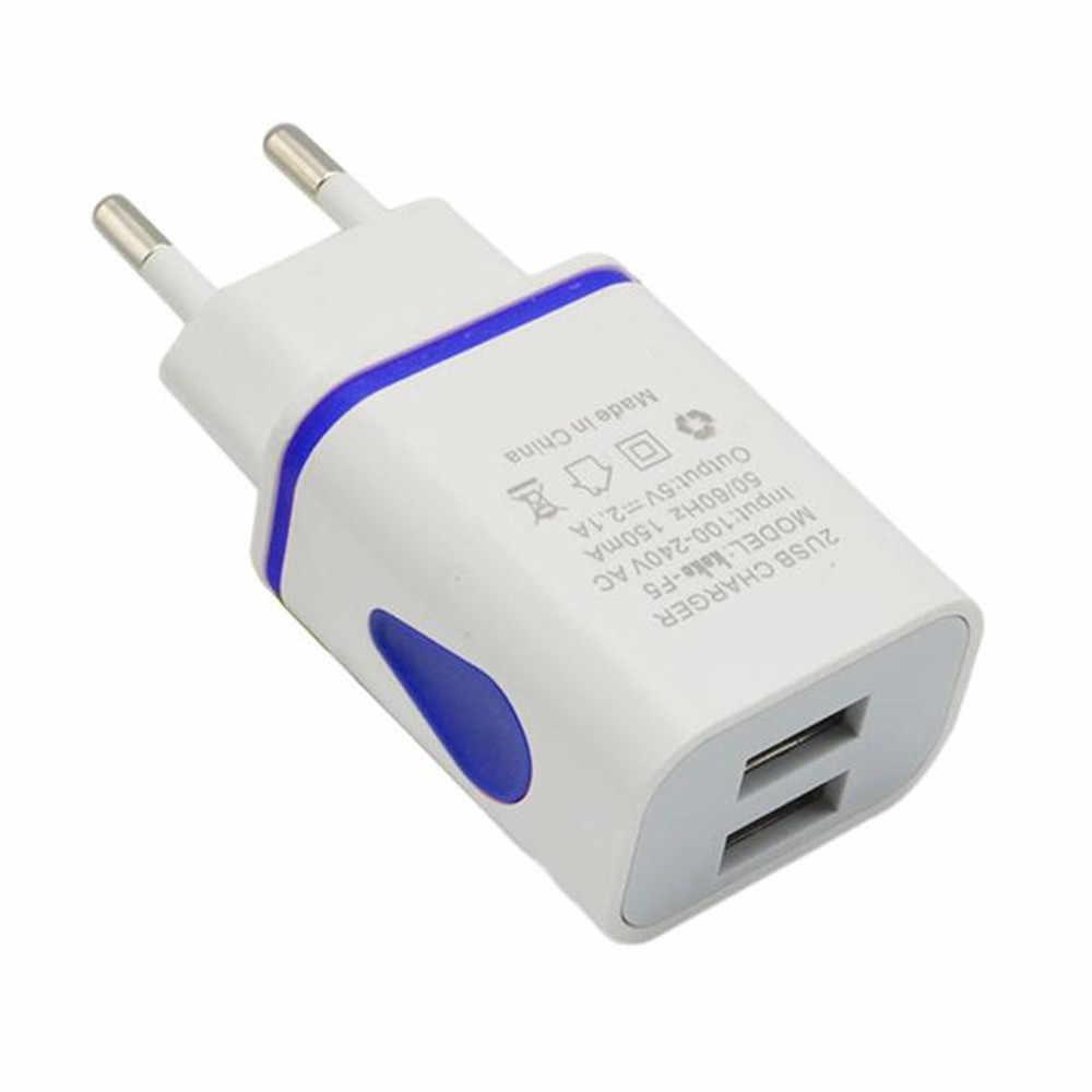 אוניברסלי caricatore usb LED USB 2 יציאת קיר בית נסיעות AC מטען לרכב מתאם עבור S7 האיחוד האירופי Plug enchufe usb חם