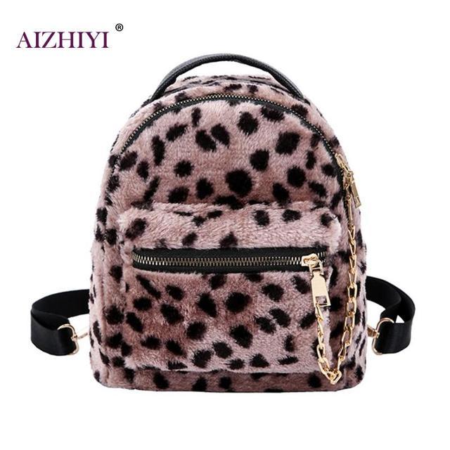 3e7c0ff29c Leopard Chain Backpack Mini Backpack Girls Kid Fashion Travel Bag Women  Rucksack Students School Bag Plush Bags Winter Bag