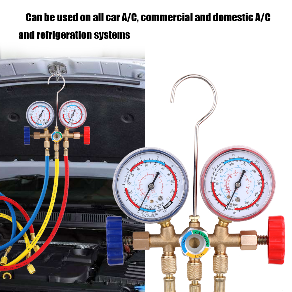AC Manifold Gauge Set R134A R22 HVAC A//C Refrigeration Auto Kit 5FT 3colors Hose