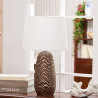 Retro Luxury Gold Jackfruit Shape Ceramic LED Table Lamps Cloth Lampshade For Bedroom Living Room Lighting