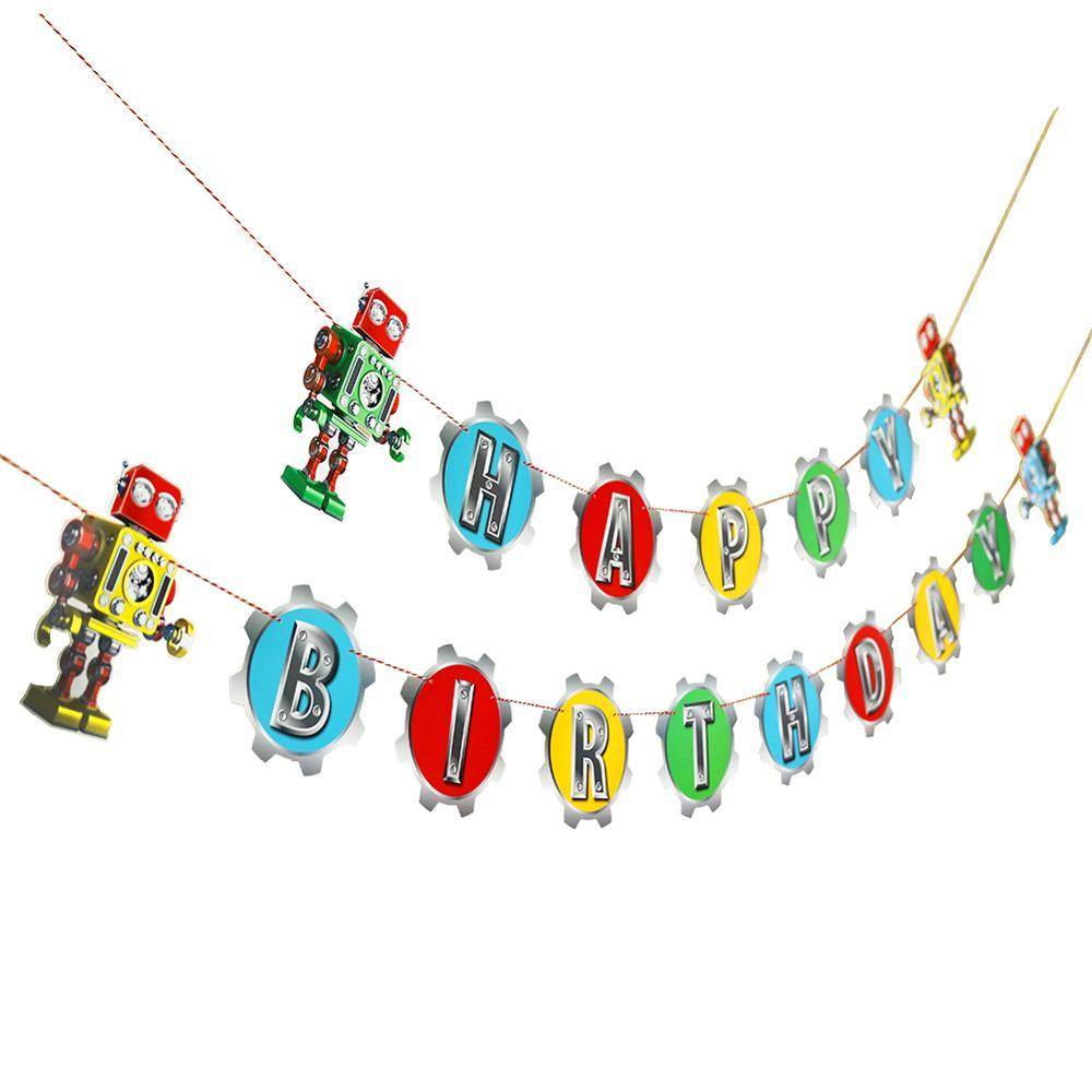 Robot Theme Birthday Party Decor Rainbow Colorful Latex Balloons Happy Birthday Banner Hanging Foil Swirl Mechanical Gear Party