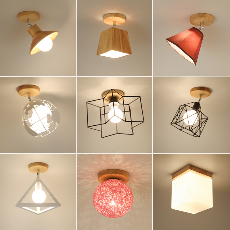 cheapest E27 Iron 5W Iron Ceiling Lamp Shade Pendant Light Covers and Shades Triangle Metal Ceiling Lampshades Not includ bulb