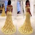 Amarelo Lace vestidos 2015 uma longa fila Prom vestidos trem da varredura 2016 vestidos de festa