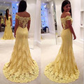 De noche de encaje amarillo 2015 A larga línea de baile vestidos de barrido tren 2016 vestidos de fiesta