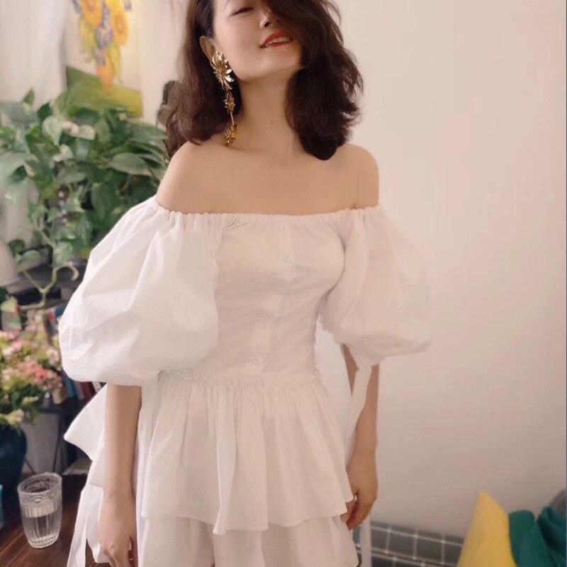 Luxury High Quality 2018 Summer Puff Sleeve Slash Neck Solid Women High Waist Dress